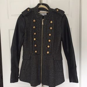 BCBGeneration Tweed coat with leather sleeves